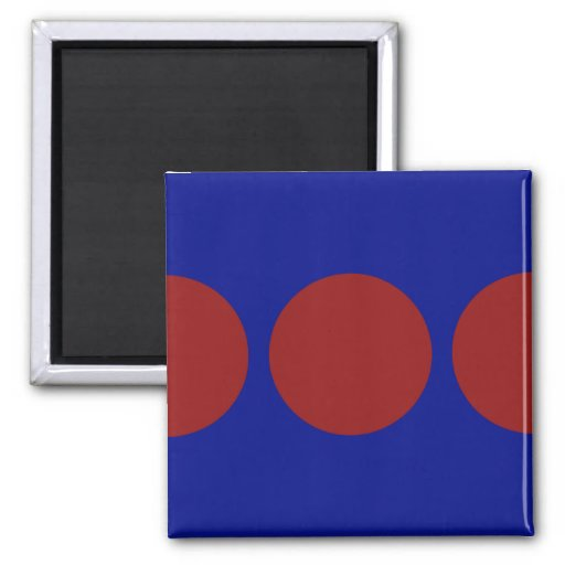Red Circles on Blue Refrigerator Magnets