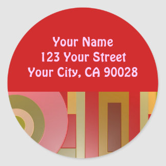 red circles squares abstract round sticker