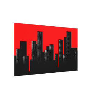 red cityscape stretched canvas prints