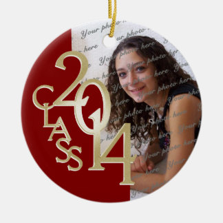 Red Class 2014 Graduation Photo Christmas Ornaments