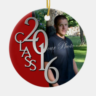Red Class of 2016 Graduate Photo Christmas Ornament