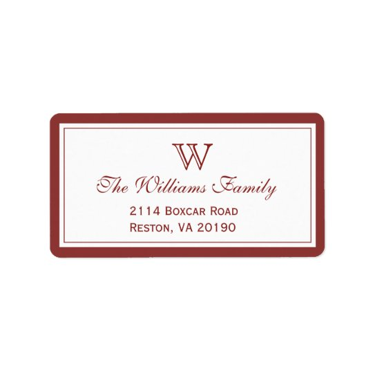 Red Classic Border Address Label