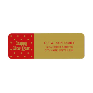 Red Classic Decorative Happy New Year Address Return Address Label