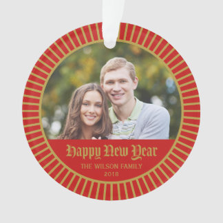 Red Classic Decorative Happy New Year Photo Ornament