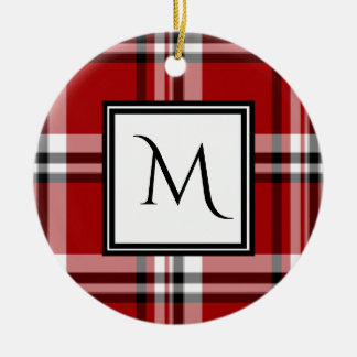 Red Classic Plaid Monogram Ceramic Ornament