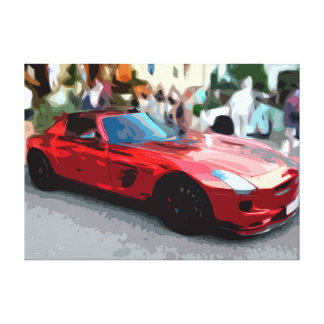 Red Classic Sports Car Simple Design Canvas