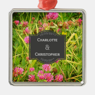 Red Clover And Buttercup Personalized Wedding Christmas Ornament