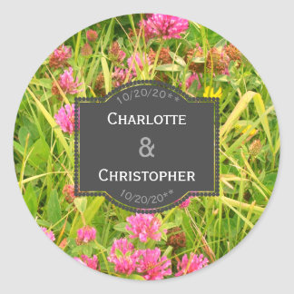 Red Clover And Buttercup Personalized Wedding Classic Round Sticker