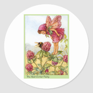 Red Clover Fairy Classic Round Sticker