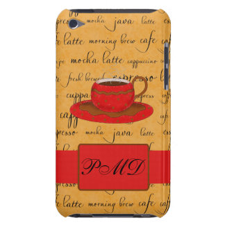 Red Coffee Cup Art Gold Script Words Monogram iPod Touch Cases