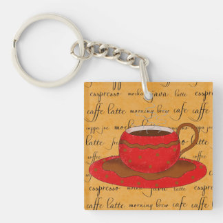 Red Coffee Cup Art on Gold Script Words Double-Sided Square Acrylic Key Ring