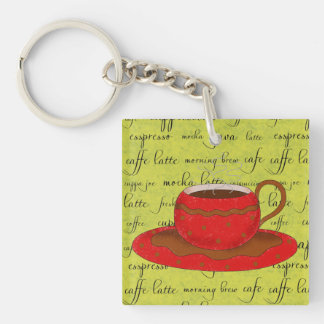 Red Coffee Cup Art on Lime Green Script Words Double-Sided Square Acrylic Key Ring