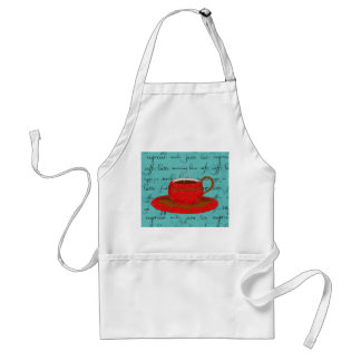 Red Coffee Cup Art on  Turquoise Script Words Adult Apron