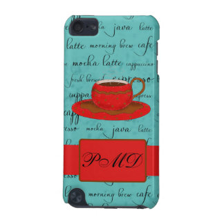 Red Coffee Cup Turquoise Script Custom Name iPod Touch (5th Generation) Cases