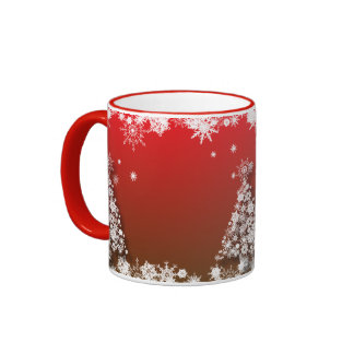 Red Coffee Cup with Snowflake Christmas tree Ringer Mug