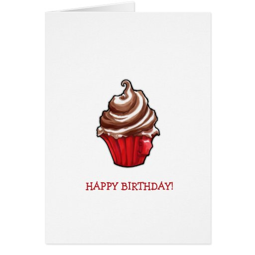 Red Coffee Cupcake Birthday Card