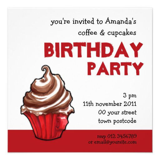 Red Coffee Cupcake Birthday Invitation