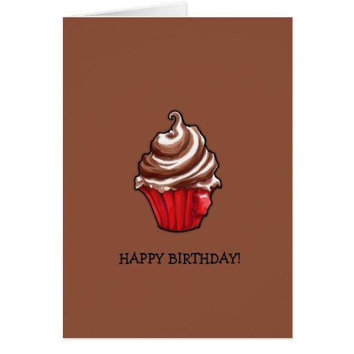 Red Coffee Cupcake coffee Birthday Card