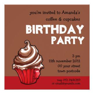 Red Coffee Cupcake coffee Birthday Invitation