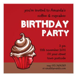 Red Coffee Cupcake red Birthday Invitation