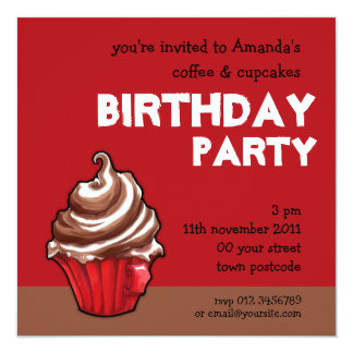 Red Coffee Cupcake red Birthday Invitation