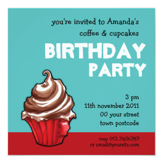 Red Coffee Cupcake teal Birthday Invitation