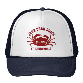 Red Color Sea Crab Illustration Cap