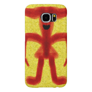 red colored creature on yellow background samsung galaxy s6 cases