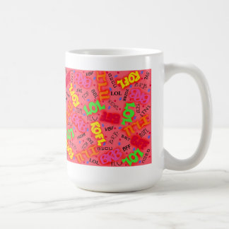 Red Colorful Electronic Texting Art Abbreviation Coffee Mug
