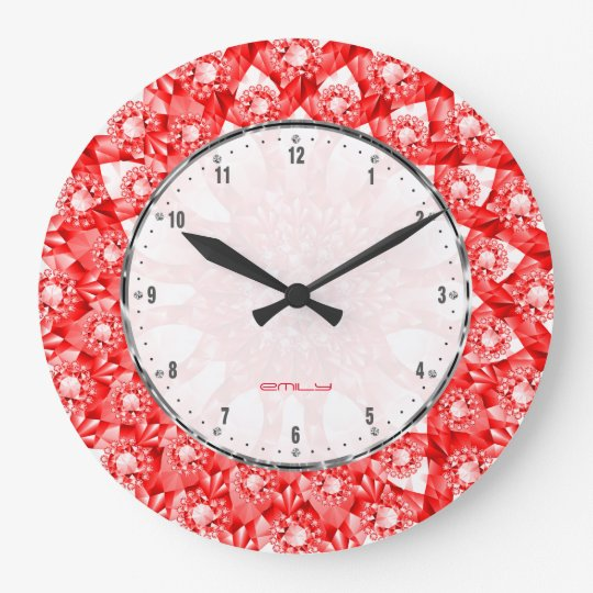 Red Colour Diamonds Print Geometric Pattern Large Clock
