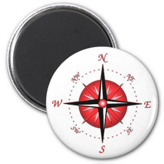 Red Compass Rose 6 Cm Round Magnet