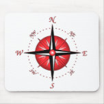 Red Compass Rose Mousepads