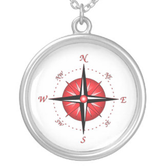 Red Compass Rose Silver Plated Necklace