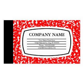 red composition book business card templates