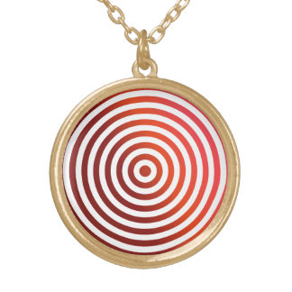 Red concentric circles round pendant necklace