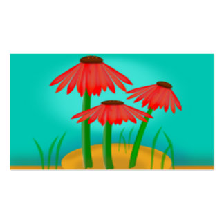 Red Cone Flower Scene Pack Of Standard Business Cards