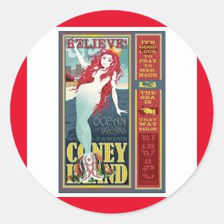 red coney island mermaid round sticker