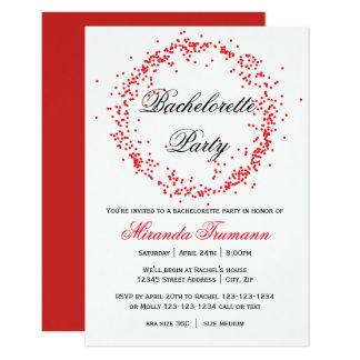 Red Confetti - 3x5 Bachelorette Party Invitation