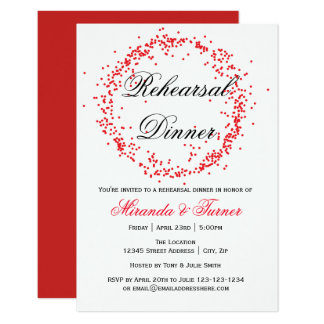 Red Confetti - 3x5 Rehearsal Dinner Invitation