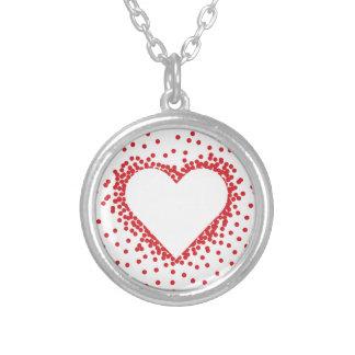 Red Confetti Heart Round Pendant Necklace