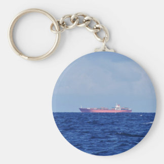 Red Container Ship Basic Round Button Key Ring