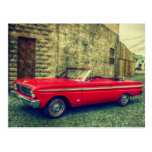 Red Convertible Collector Car Downtown Postcard