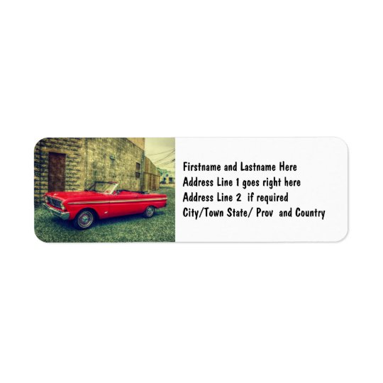 Red Convertible Collector Car Downtown Return Address Label