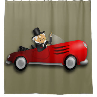 Red convertible sports car shower curtain