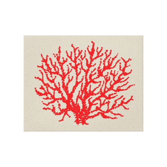 Red Coral Beach Sea Wall Art Decoration