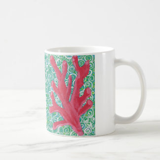 Red Coral In Ocean Current Basic White Mug