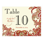 Red Coral Lime Paisley Wedding Table Number