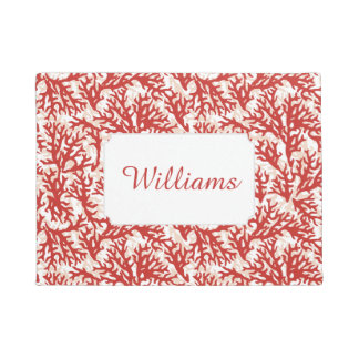 Red Coral Pattern | Add Your Name Doormat