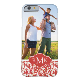 Red Coral Pattern | Your Photo & Monogram Barely There iPhone 6 Case