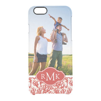 Red Coral Pattern   Your Photo & Monogram Clear iPhone 6/6S Case